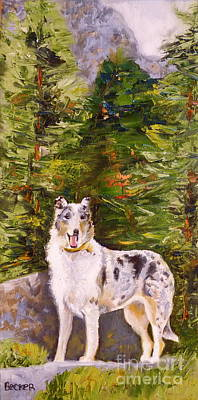 Smooth Collie Hiker Art Print by Susan A Becker