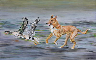 Painting - Smooth Collie Trying To Herd Geese by Michelle Miron-Rebbe