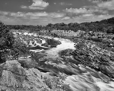 Photograph - Smooth Flow At Great Falls - Bw by Dale Nelson