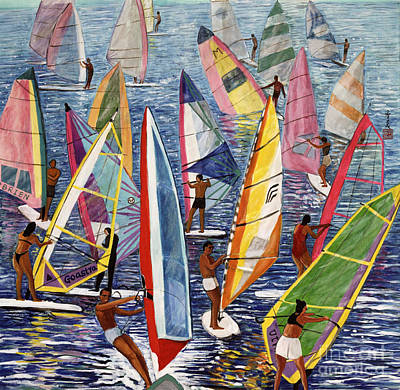 Windsurfing Painting - Smooth Sailing by Komi Chen