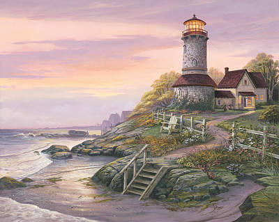 Lighthouse Painting - Smooth Sailing by Michael Humphries