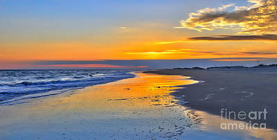 Smooth Sunset On Ocracoke Outer Banks Print by Dan Carmichael