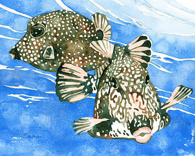 Painting - Smooth Trunkfish Pair by Pauline Walsh Jacobson