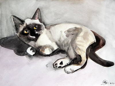 Painting - Smudge At 8 Weeks  by Expressionistart studio Priscilla Batzell