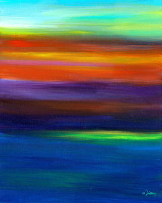 Sunset Abstract Painting - Smudged Sunset by Kristin Whitney