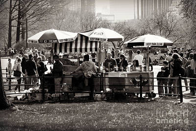 Vintage Stamps - Snacktime in Central Park by Miriam Danar