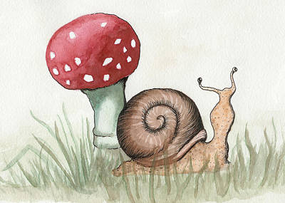 Toadstools Painting - Snail And Mushroom by Melissa Rohr Gindling