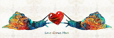 Snail Art - Love Grows Here - By Sharon Cummings Art Print