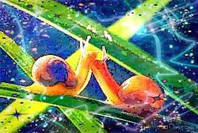 Digital Art - Snail Snuggle by Karen Buford