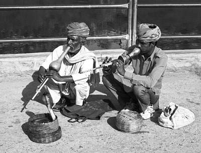 Photograph - Snake Charmer And Apprentice Bw by C H Apperson
