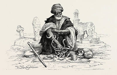 Snake Charmer Drawing - Snake-charmer.  Snake Charming Is The Practice by Litz Collection