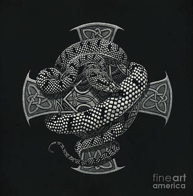 Snake Cross Art Print by Stanley Morrison