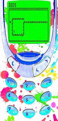 Watercolor Mobile Mixed Media - Snake by Daniel Janda