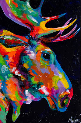 Contemporary Western Art Painting - Snake River Moose by Tracy Miller