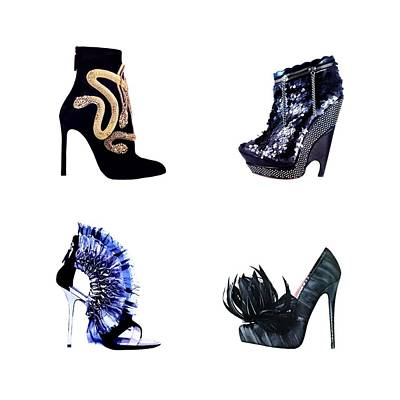 Shoe Digital Art - Snakes And Glitter  by Cindy Edwards