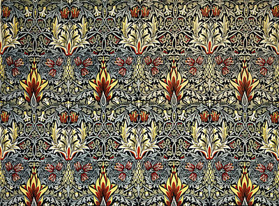 Tapestries - Textiles Digital Art - Snakeshead by William Morris