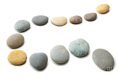Clipping Photograph - Snaking Line Of Twelve Pebbles Steps Isolated by Colin and Linda McKie