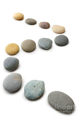 Clipping Photograph - Snaking Line Of Twelve Pebbles Steps Isolated Vertical by Colin and Linda McKie