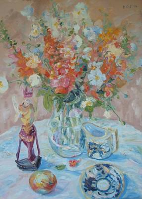 Carved Glass Painting - Snapdragons And Balinese Figure by Elinor Fletcher
