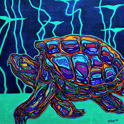 Painted Turtle Wall Art - Painting - Snapper by Derrick Higgins