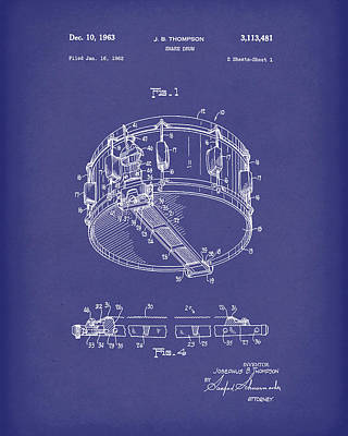 Drawing - Snare Drum 1963 Patent Art Blue by Prior Art Design