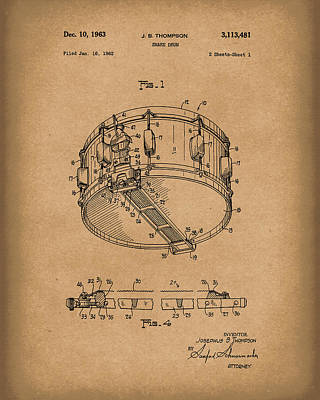 Drawing - Snare Drum 1963 Patent Art Brown by Prior Art Design