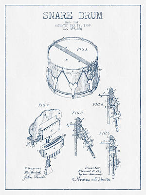 Folk Art Digital Art - Snare Drum Patent Drawing From 1889 - Blue Ink by Aged Pixel