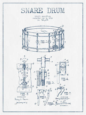 Folk Art Digital Art - Snare Drum Patent Drawing From 1910  - Blue Ink by Aged Pixel