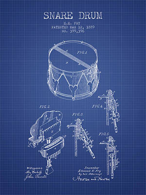 Drummer Drawing - Snare Drum Patent From 1889- Blueprint by Aged Pixel