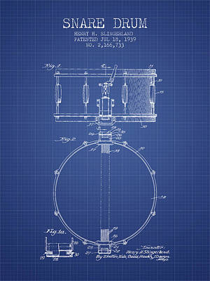 Drummer Drawing - Snare Drum Patent From 1939 - Blueprint by Aged Pixel