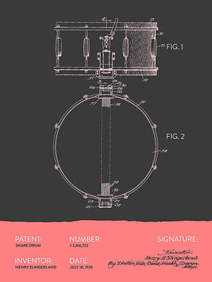 Drummer Drawing - Snare Drum Patent From 1939 - Gray Salmon by Aged Pixel