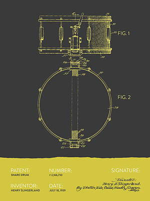 Drummer Drawing - Snare Drum Patent From 1939 - Gray Yellow by Aged Pixel