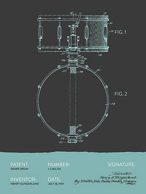 Folk Art Digital Art - Snare Drum Patent From 1939 - Modern Gray Blue by Aged Pixel