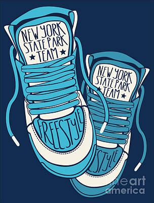 Object Wall Art - Digital Art - Sneakers Graphic Design For Tee by Braingraph