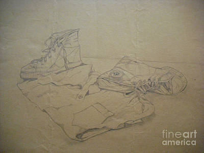 Drawing - Sneakers by Michelle Deyna-Hayward