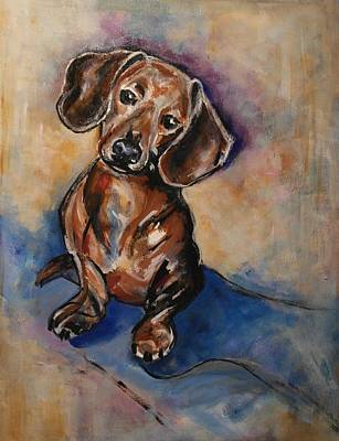 Weiner Dog Painting - Snickers by John Barth