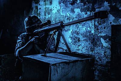 Photograph - Sniper Firing A 50 Caliber Sniper Rifle by Oleg Zabielin