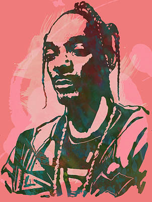 Marilyn Monroe Drawing - Snoop Dogg - Stylised Pop Art Drawing Potrait Poser by Kim Wang