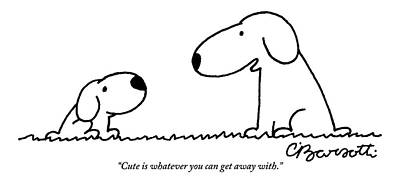 Drawing - Dog Talks To Puppy About Being Cute by Charles Barsotti
