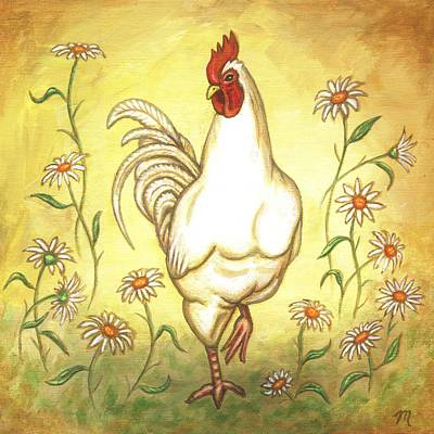 Chicken Painting - Snooty The Rooster by Linda Mears