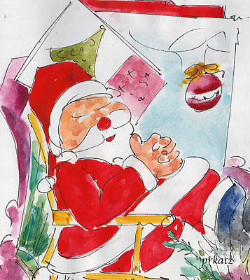 Painting - Snoozing Santa by Pat Katz