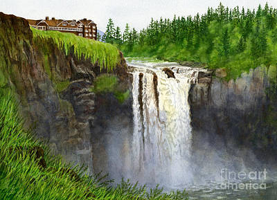 Snoqualmie Painting - Snoqualmie Falls 2  Horizontal by Sharon Freeman