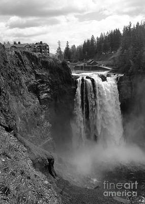 Photograph - Snoqualmie Falls Lodge And Waterfall - Black And White by Carol Groenen