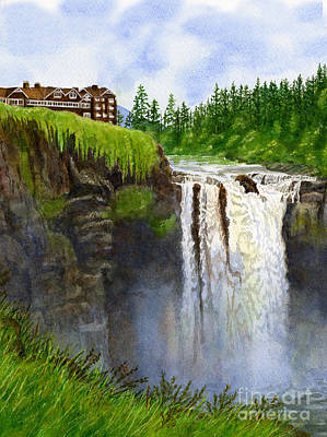 Northwest Landscapes Painting - Snoqualmie Falls Vertical Design by Sharon Freeman