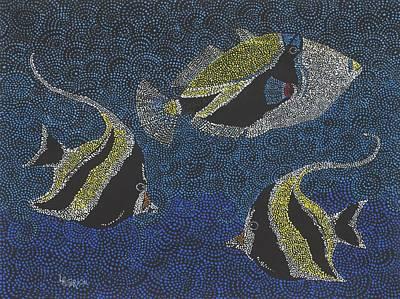 Hawaiian Fish Painting - Snorkel 9 - Humu And Moorish Idols by Linda Peterson