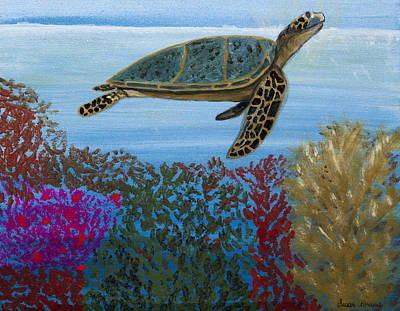 Painting - Snorkeling Maui Turtle by Susan Abrams