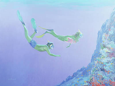 Scuba Painting - Snorklers by William Ireland