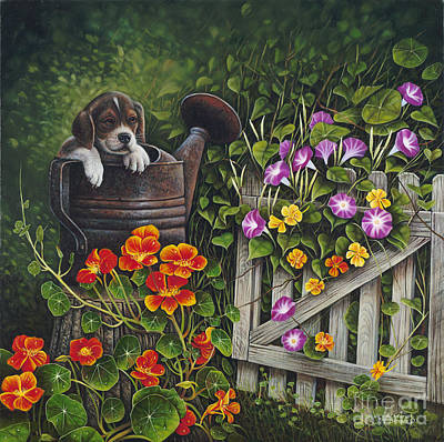 Beagle Puppies Painting - Snout N Spout by Ricardo Chavez-Mendez