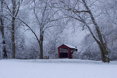 Photograph - Snow Adorns The John Burrows Covered Bridge by Gene Walls