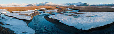 Cold Temperature Photograph - Snow Along A River With Mountains by Panoramic Images